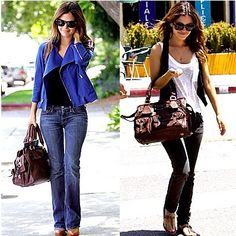 I love the bright blue jacket with the black shirt and my favorite go to look white and black, sunglasses are always a must!