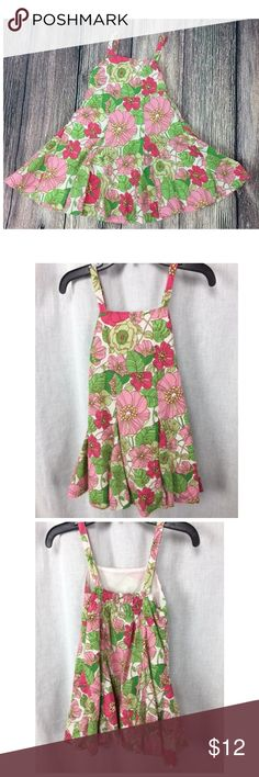 Toddler Girls Pink Green Floral Sundress 18-24 mo Toddler Girls size 18-24 months pink and green floral cotton sundress.  Flare skirt with elastic waist back for better fit.  Fully lined and in good pre-owned condition.  No stains or damage to the outer skirt but there is some marking on the underlining.  I did not try to clean it so not sure if this is a stain or just some dirt.  It cannot be seen from the outside.  From a smoke free home.  See something you like? Make me an offer! I am…