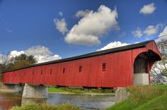 This bridge is just up the road from us. It is about 150 years old and is known locally as the Kissing Bridge. Covered Bridges, Kissing, Canoe, Ontario, Fields, Past, Landscape, Drawing, Architecture