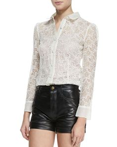 # RED Valentino: Long Sleeve Star Embroidery Button Down Blouse..... lacy stars!