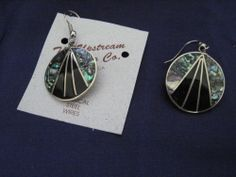 Stylish Hook Silver Plated & Abalone Earrings
