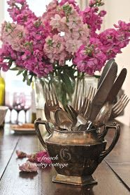 Silver Display - via FRENCH COUNTRY COTTAGE: A Little Bit of Bling