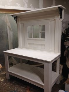 I really love this potting bench with the vintage beadboard and old rosettes and fluted trim molding. I think she is a beauty https://www.facebook.com/Carlasgardenanddecor