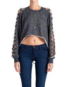 Heathered and Slashed Cropped Sweater - Large