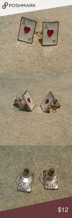 "Betsey Johnson Ace of Diamonds Las Vegas Earrings Betsey Johnson playing card ace of diamonds earrings. Red & white enamel on shiny gold metal post stud with bullet style backings. Perfect for the Casino, card night, or your lucky charms at poker! 1/2"" long by 3/8"" wide. Dime in last pic for size comparison.  Other playing cards in my closet!  Thank you for checking out my closet, and happy poshing!! :)   SORRY, NO TRADES  BUNDLE & SAVE! Betsey Johnson Jewelry Earrings"