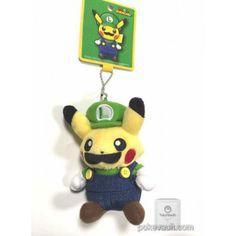 Pokemon Center Online 2016 Mario Pikachu Campaign Luigi Pikachu Mascot Plush Keychain