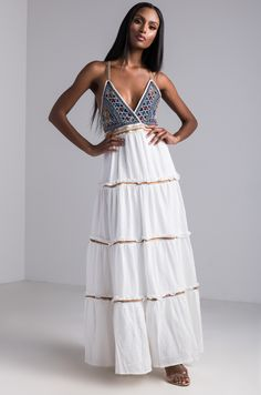 8dd40caa6c48 AKIRA V Neck Embroidered Top Embellished Maxi Dress in Ivory Multi