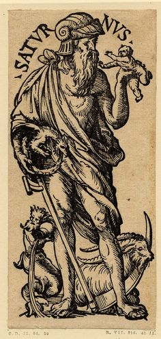 Saturn, Jupiter, Mars, Sol, Venus, Mercury and Luna; series of seven woodcuts, each consisting of a WL figure in antique costume with the signs of the zodiac associated with them at their feet.  Woodcut