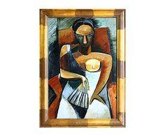 "Reprodukce obrazu ""Woman with a Fan II"", 75 x 105 cm"