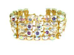 Wide Bracelet. Glamour Jewelry. Aurora Borealis by bohemiantrading