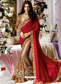 Classic Net Lace Designer Saree In Red
