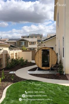 This backyard is even more beautiful with the addition of the barrel sauna. Surely, this will now be a favorite spot! Learn more about this particular barrel sauna. Barrel Sauna, Traditional Saunas, Sauna Heater, Outdoor Sauna, Tempered Glass Door, Sauna Room, Canned Heat, Cubic Foot, Thing 1