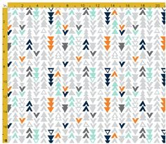 Fabric by the quarter yard- Navy Orange mint Gray Triangles - quilt weight fabric