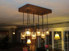 Saw a canning jar chandelier at Pottery Barn and decided to make my own for much less!