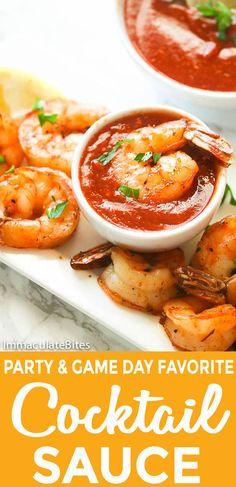 Cocktail Sauce Recipe – Cocktail Sauce Recipe paired with roast shrimp - tasty spicy homemade sauce made primarily with ketchup, chili sauce, Worcestershire sauce and horseradish The perfect dipping sauce to entertain your guests! Shrimp Appetizers, Shrimp Recipes, Appetizer Recipes, Salad Recipes, Sauce Cocktail, Seafood Cocktail, Crab Cocktail Sauce Recipe, Ketchup, Chili Sauce