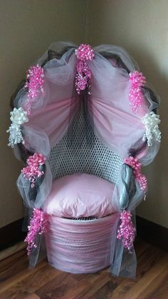 Decorated wicker baby shower chair By Vivian Lopez More