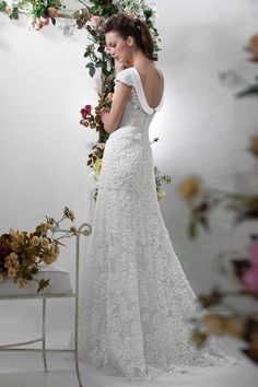 """Lace Wedding Dress, Vintage-Style, from Papilio """"Flower Cocktail"""" Collection - www.papilioboutique.ca"""