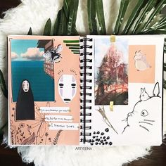 studio ghibli entry on journal Bullet Journal Notebook, Bullet Journal Spread, Bullet Journal Ideas Pages, Bullet Journal Inspiration, Art Journal Pages, Arte Sketchbook, Bullet Journal Aesthetic, Kawaii, Scrapbook Journal