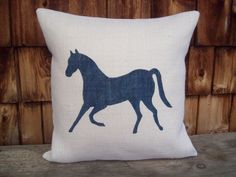 Burlap Horse Decorative Pillow Cover 18  x by NorthCountryComforts, $36.00