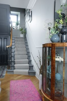 Stair and Hallway Makeover Reveal With An Epic Gallery Wall - designsixtynine Grey Hallway, Entry Hallway, Hallway Walls, Edwardian Hallway, Edwardian Staircase, Hall Colour, Landing Decor, Painted Staircases, Painted Stairs