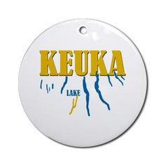 Keuka Lake Ornament (Round) by TheBigGrin - CafePress Penn Yan, Round Design, How To Make Ornaments, Red Ribbon