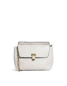 ASOS Cross Body Bag In Croc With Chain Handle