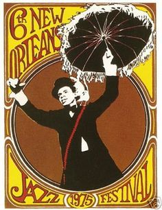 NEW ORLEANS JAZZ FESTIVAL POSTER POST CARD 1975 1ST NEW