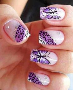Cheetah Butterfly nail design