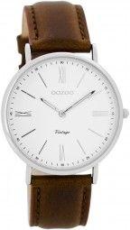 Oozoo Ultra Slim Vintage Uhr C7716 - cognac/weiss - 36 mm - Lederband