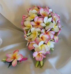 Frangipani Plumeria Teardrop Bouquet Real-Touch Destination Wedding by Abloomortwo on Etsy