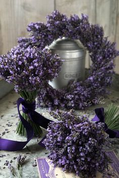 Lavender Tied In Purple Velvet Ribbons And Pewter........