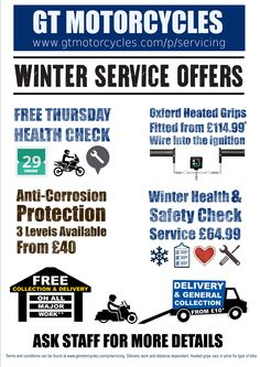 #Winter #Services for #Motorcycles available at GT Motorcycles workshop