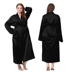 Classic Design,Black Plus Size Long Silk #Robe.| Lilysilk