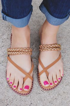 Your love for these sandals will last longer than the Summer! Our Summer Love Sandals are a pair of faux leather sandals with gold braided accents and buckle ankle strap. *All footwear returns are eli