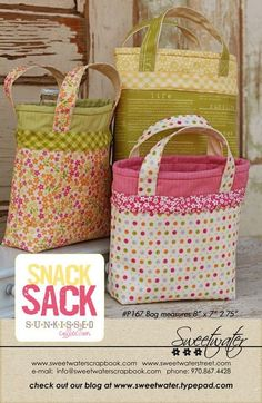 Snack Sack Pattern  Download Pattern by sweetwaterscrapbook, $8.00