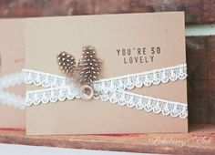 Rustic and vintage kraft paper card set with vintage lace trim, vintage buttons, and feathers for any occasion. Set of ten for $20 on Etsy by Pokeberry Ink Press