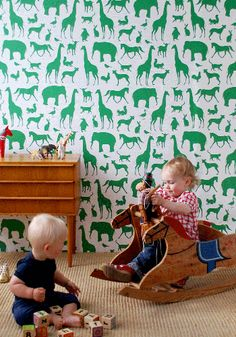 Green & White - Animal Print Wallpaper in the Playroom