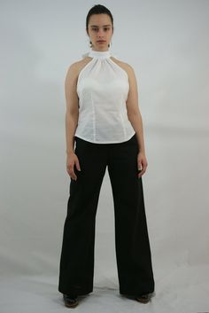 Black Linen Wide Legged Pants with Drawstring by GreenLinebyK, $82.00