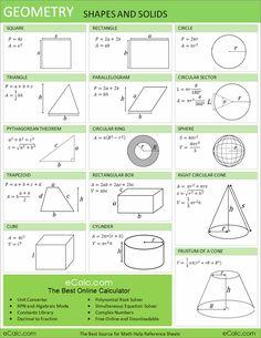 Geometry formulas.