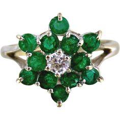 Emerald & Diamond Ring-10kt White Gold