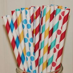 Carnival Circus Party paper straws, this colorful fun collection will add cuteness to your party tables and drink bars Birthday Party Drinks, Carnival Birthday Parties, Circus Birthday, 2nd Birthday, Birthday Ideas, Plastic Mason Jars, Circus Theme Party, Elmo Party, Carnival Themes