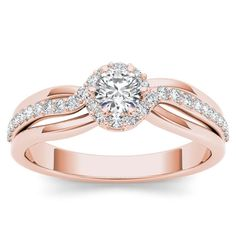 De Couer 10k Rose Gold 1/2ct TDW Diamond Classic Bypass Engagement Ring (H-I, I2) (Size-8.25), Women's, Size: 8.25, Pink