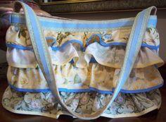 Darling Cotton Quilt Fabric 4 Tiers Ruffled Handbag Box Bag Purse with Grosgrain Ribbon Trims