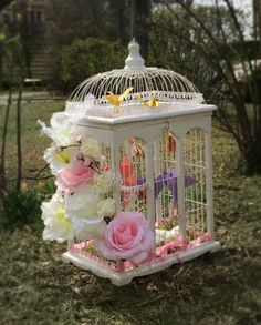Vintage birdcage with paper-doves carrying money. Vintage Birdcage, Bird Cage, Gazebo, Money, Table Decorations, Outdoor, Home Decor, Outdoors, Homemade Home Decor