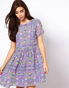 ASOS Smock Dress In Pastel Aztec Print