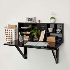 Furniture Black Wood Wall Mounted Fold Up Desk With Stationery Shelves And White Plastic File Cabinet Ideas