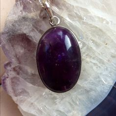 "💖Host Pick💖Amethyst Pendant Big! Beautiful! Rich Colored Amethyst Pendant! Measures 2"" , a lot of nice Sterling Silver. Gorgeous Piece! Jewelry"