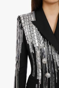 Pearl Embroidery, Couture Embroidery, Sequin Blazer, Abaya Designs, Tuxedo Jacket, Crop Top Outfits, Blazers For Women, Fashion Details, Double Breasted