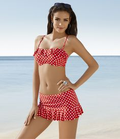 Captiva Dot On Ruffle Bandeau & Skirt Swimsuit #SomaIntimates