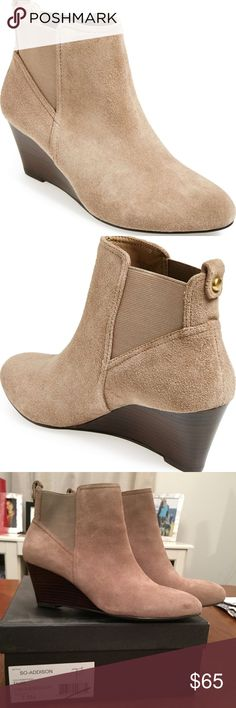 """Sole Society Addison Bootie 7.5 Taupe NIB Very chic and comfortable bootie in Taupe color Brand New In Box A curvy, stacked wedge lends just-right height to a versatile suede bootie gored for slip-on style. 2 1/2"""" heel (size 9). 5"""" shaft. Suede upper/synthetic lining and sole. Sole Society Shoes Ankle Boots & Booties"""